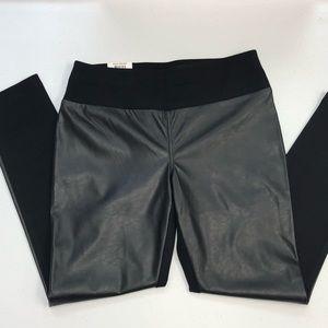 INC black faux leather leggings 10 short